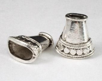 16mm Antique SIlver Flattened Oval Cone #COA038