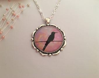 Bird on Wire Necklace, Bird Pendant, Jewellery, Bird Jewellery, Gift for Her, Nature Jewellery