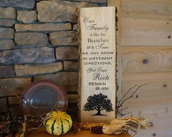 Family Tree Sign, Rustic Wood Sign, Engraved Sign, Rustic Family Tree Sign, Rustic Sign, Family Sign, Our Family Tree