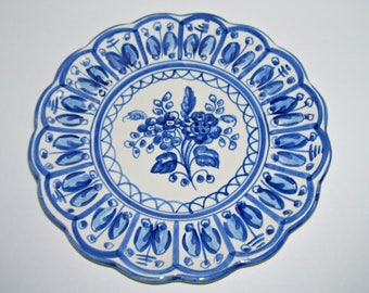 Vintage Blue White Ceramic Floral Wall Plaque Plate Signed S Mora