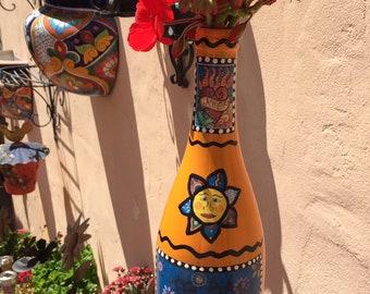E. Barnes - Day of the Dead - Bright Orange painted glass wine bottle