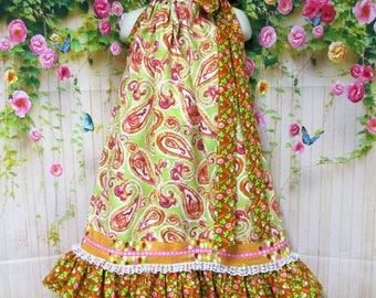Girls Dress 6/7 Green, Rose, Brown Paisley Pillowcase Dress, Pillow Case Dress, Sundress, Boutique Dress