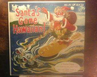 1959 Hawaiian Christmas Red Vinyl Lp, SANTA GOES HAWAIIAN