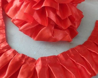 2 meters of 4 cm Red satin ruffle Ribbon