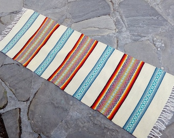 Striped handwoven wool rug in natural white/cream blue, red and yellow palette, new handmade rug runner