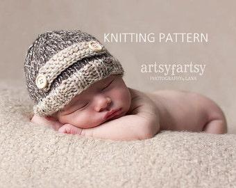 KNITTING PATTERN Tweed Strap Hat - newborn, baby, instant download