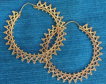 Goddess Sun Giant Hoop Tribal Hook Earrings