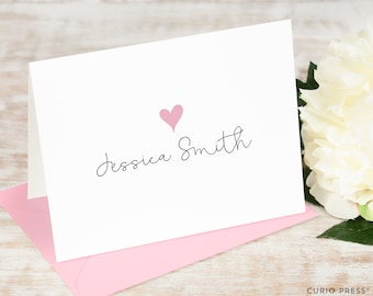 Personalized Note Card Set / Folded Stationery Note Cards / Custom Printed Stationary Set // LOVELY HEART