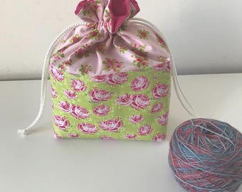 Sock Knitting Project bag, Floral knitting bag, project bag, drawstring project bag, small project bag, small knitting bag with zip pocket
