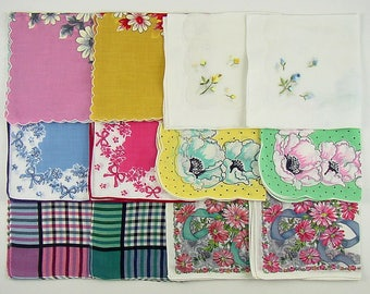 One Dozen Vintage Hankies Lot of 6 Matching Pairs Of Handkerchiefs (Lot #E14)