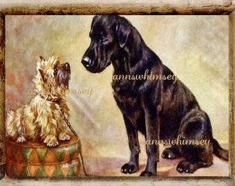 Dog Art - Nursery Art - Child's Room Art - Living Room Art - Family Room Art -rt Cairn Terrier and Black Lab, Dog Art Print, #149