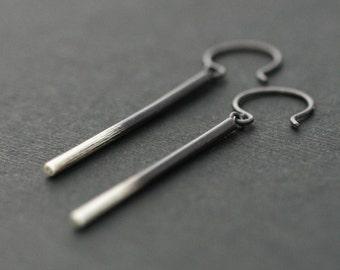 Ombre Stick Silver Earrings, Modern Long Ombre Slim Sterling Silver Earrings, Polished Gradient Silver dangle