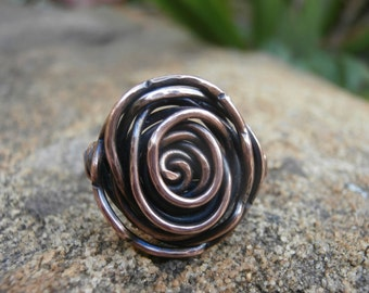 Large Copper Rosette Ring, Copper Spiral Ring, Rustic Boho Jewelry