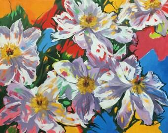 """Original Oil Painting  """"White Single Peonies """""""