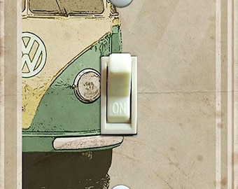 Volkswagen Van Type 2 Vintage Poster Decorative Single/Double Switch Plate  ***FREE SHIPPING***