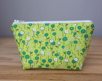 Extra Small Makeup Bag, Chartreuse Flowers, Floral Makeup Bag, Floral Cosmetic Bag
