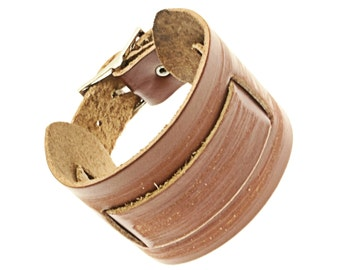 Wide Brown Leather Cuff Wrap Around Bracelet - 257