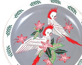 Cockatoos Tin litho Toy Tea Tray, 1950s tropical Hawaii design by Ohio Art.
