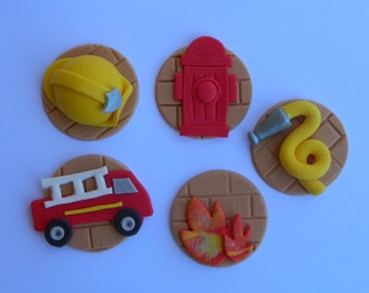 12 edible ASSORTED FIRE THEME fireman truck cupcake topper decoration party wedding anniversary birthday cookie party sam cake firemen dept