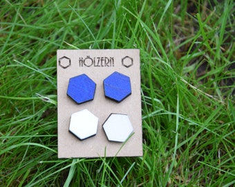 White hand painted earrings blue hexagonal twin set