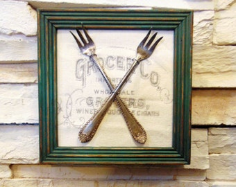 Vintage Framed Silverware Wall Art With Typography, Upcycled Wall Frame  With Silver Ware, Chic