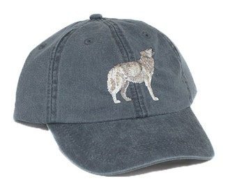 Wolf embroidered hat, baseball cap, gray wolf, grey wolf, howling timber wolf, wolf lover gift, dad hat, mom cap, wildlife hat, father's day