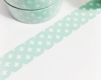 SALE Mint Green with Plus Signs Plus Sign Washi Tape 11 yards 10 meters 15mm