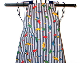 Childs Apron Ages 1-3 Dinosaurs on Striped Denim  Reversible Adjustable Kids