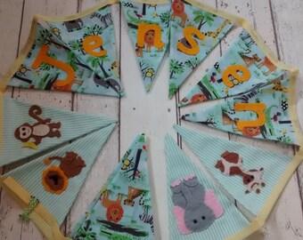 Jungle animal bunting, personalised bunting, nursery bunting,new baby gift, children's bunting, children's bedroom bunting, christening gift