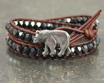 Rustic Bear Jewelry Silver Gunmetal Bear Bracelet Double Leather Wrap Bracelet