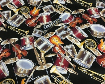 """Instruments All Over David Textiles, Inc. Cotton Fabric Yardage - 44"""" Wide"""