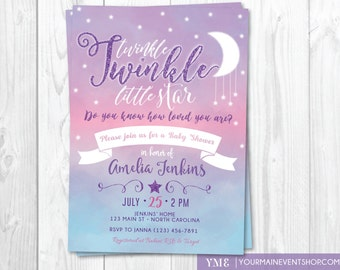 Twinkle Twinkle Little Star Baby Shower Invitation, Twinkle Twinkle Shower Invitation, Pink and Purple Star Invitation, Girl Baby Shower
