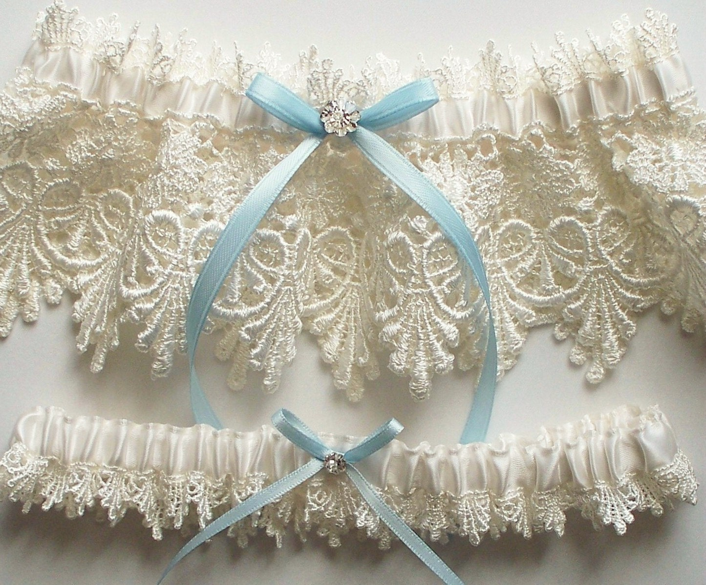 Lace Garter Wedding Garter Set with Blue Satin Ribbon Bow and