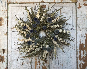 Natural Silver Bush Twig, Dried Silverweed, White Larkspur & Echinops Wreath- 18""
