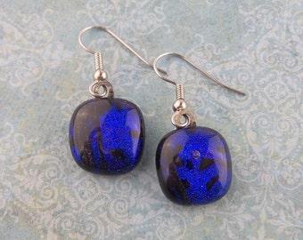 Royal Blue Earrings, Dangle Earrings, Hypoallergenic Earrings, Fused Glass Jewelry, Gift for Her - - 1694-6