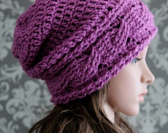 Crochet PATTERN - Slouchy Hat Crochet Pattern - Crochet Patterns for Women - Crochet Cable Hat Pattern - 4 Sizes Baby to Adult - PDF 415