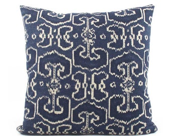 Batik Indigo Blue Pillow Cover 18x18, 20x20, 24x24 Euro Sham or Lumbar, Ikat Pillow Cover, Throw Pillow, Accent Pillow, Lacefield Bengali