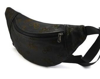 Leather Hip Bag,Belt Bag,Fanny Pack,Duck Canvas Bag,Festival Bag,Travel Bag,Hands Free Bag,Black Bag,leather waist bag,Bike Bag,Bicycle Bag