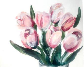 Blush tulips print 11x14 in