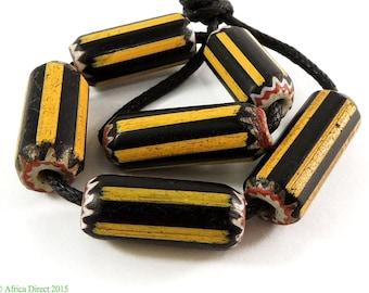 6 Yellow Jacket Chevron Venetian Trade Beads Africa 99862