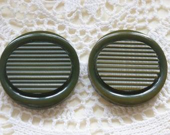"""2 Large Vintage Olive Green Coat Buttons 1 1/2"""" #42"""