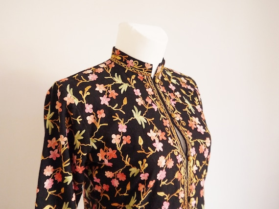 Embroidered Flower Boho jacket Jacket size Vintage jacket Cotton Hippie 70s medium 70's Flowers Power Wool Pattern R1 large chic qOptPC