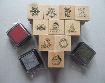 x 10 wooden rubber stamp + 3 Christmas themed stamps