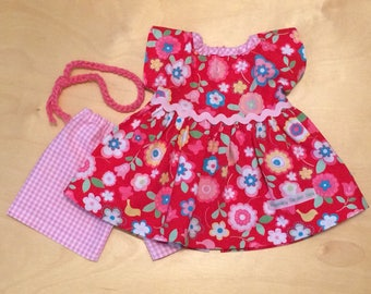Doll Clothing Waldorf Doll Dress and Bloomers Outfit for 16-inch Waldorf Doll