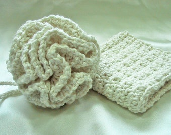 2 Piece Bath Set - Bath Puff & Wash Cloth - Crocheted - Cotton Yarn in Ivory - Pamper Yourself - Nice Gift Set