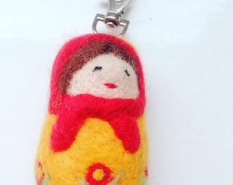 Waldolf inspired needle felted Russian babushka doll keyring