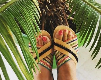 Handmade bohemian sandals, 100% genuine Greek leather
