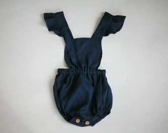 Baby linen romper Baby girl linen clothes Baby romper Toddler romper Linen romper Baby 1st birthday clothes Cake smash outfit