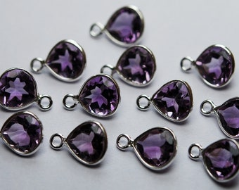 925 Sterling Silver,Natural Pink Amethyst Faceted Heart Shape Pendant,5 Piece of 12mm