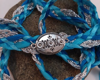 Wedding Handfasting Cord - Silver Turquoise Blue Southwestern Inspired